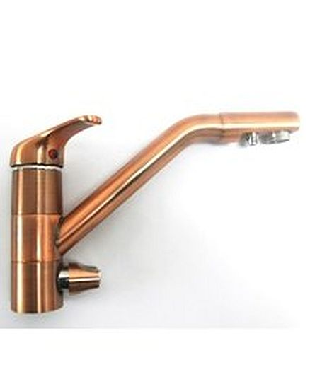Three way brass mixer for treated drinking water